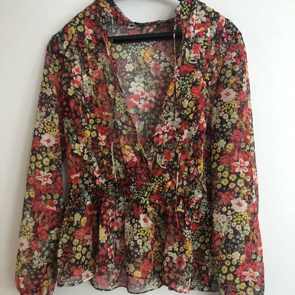 Zara Tops - floral long sleeve blouse